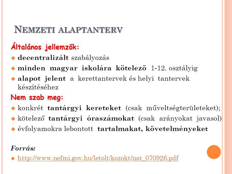N EMZETI ALAPTANTERV Általános jellemzők:  decentralizált szabályozás  minden magyar iskolára kötelező 1-12. osztályig  alapot jelent a kerettanter
