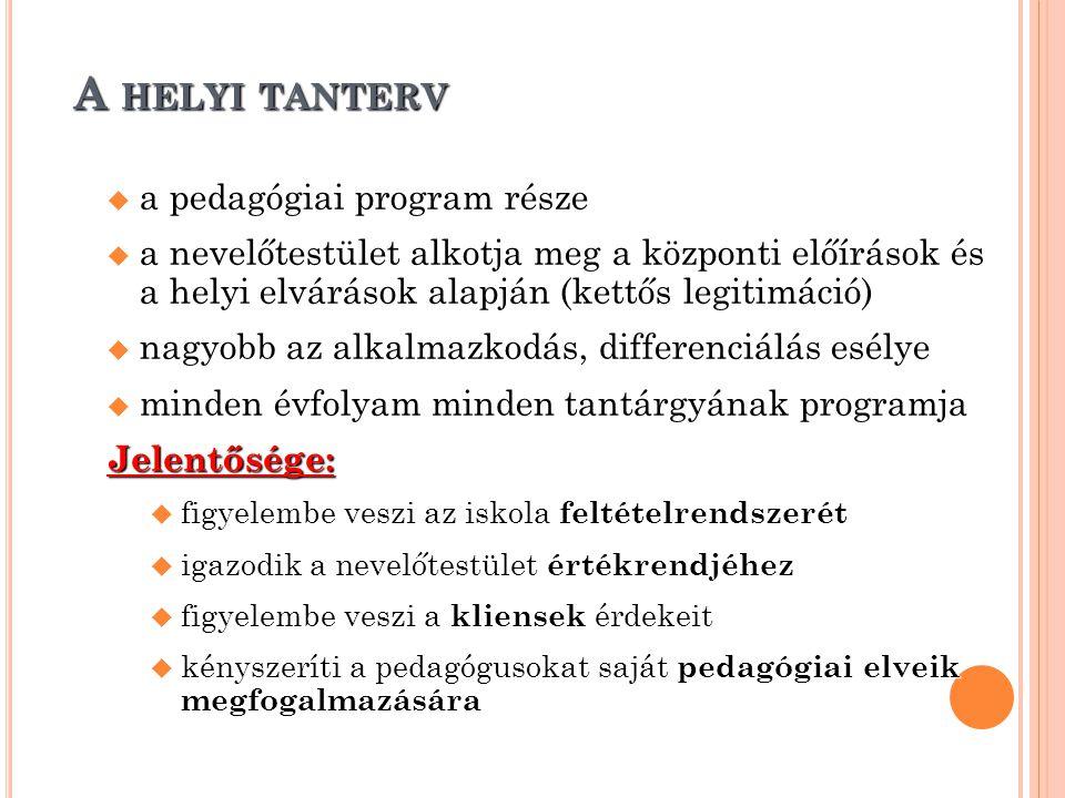 A HELYI TANTERV  a pedagógiai program része  a nevelőtestület alkotja meg a központi előírások és a helyi elvárások alapján (kettős legitimáció)  n