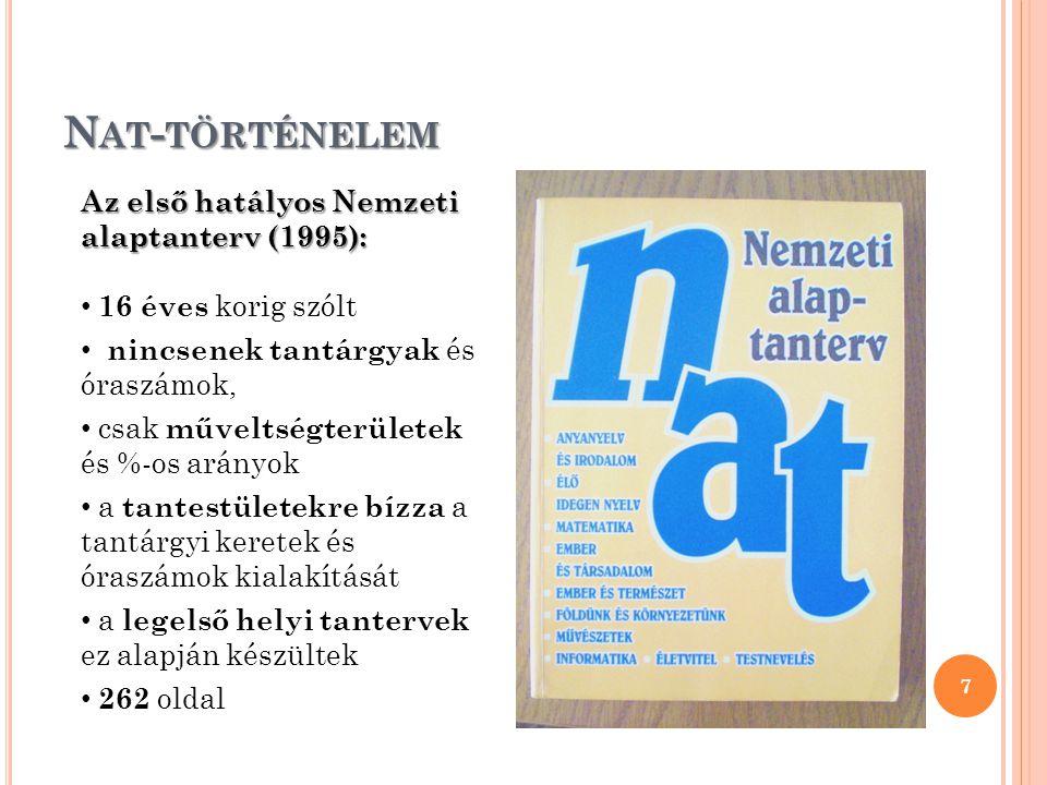 N AT - TÖRTÉNELEM 7 Az első hatályos Nemzeti alaptanterv (1995): 16 éves korig szólt nincsenek tantárgyak és óraszámok, csak műveltségterületek és %-o