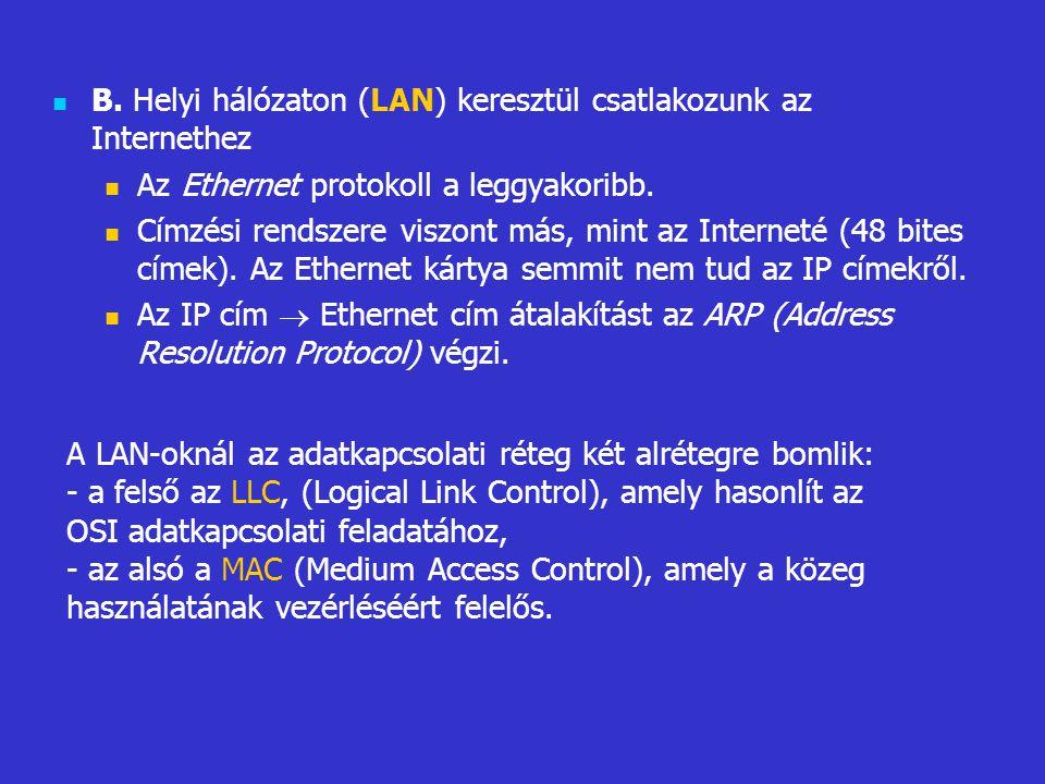 B. Helyi hálózaton (LAN) keresztül csatlakozunk az Internethez Az Ethernet protokoll a leggyakoribb. Címzési rendszere viszont más, mint az Interneté