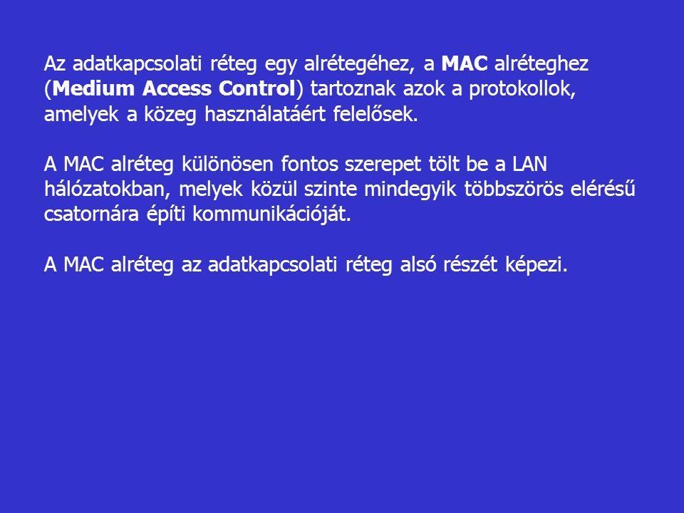 Az adatkapcsolati réteg egy alrétegéhez, a MAC alréteghez (Medium Access Control) tartoznak azok a protokollok, amelyek a közeg használatáért felelőse
