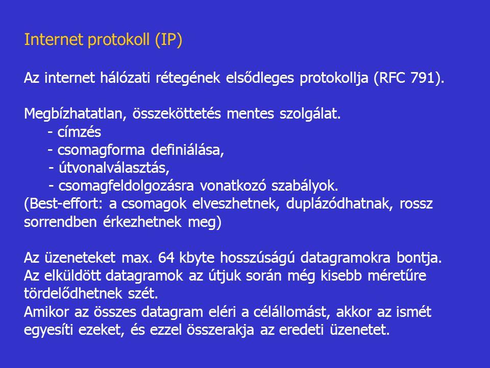 Internet protokoll (IP) Az internet hálózati rétegének elsődleges protokollja (RFC 791). Megbízhatatlan, összeköttetés mentes szolgálat. - címzés - cs