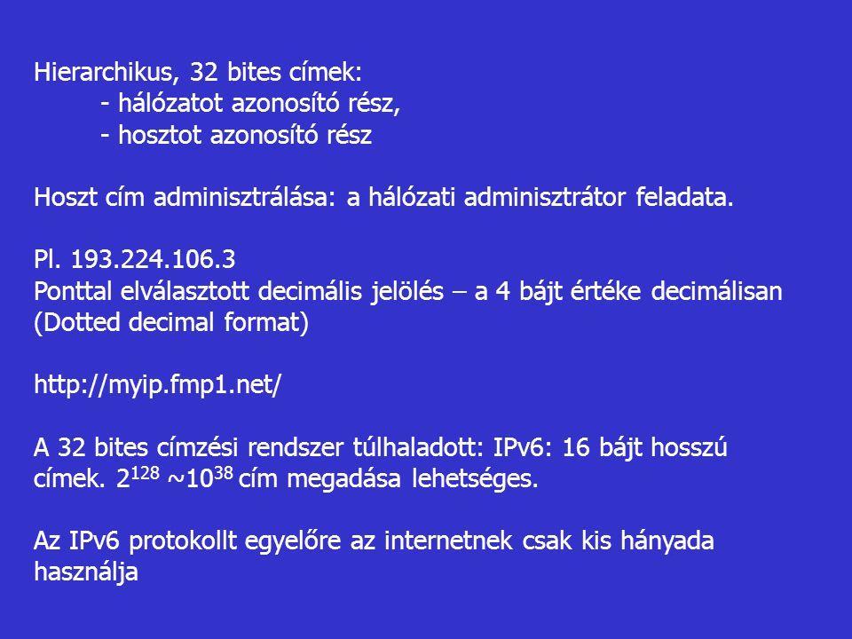 Hierarchikus, 32 bites címek: - hálózatot azonosító rész, - hosztot azonosító rész Hoszt cím adminisztrálása: a hálózati adminisztrátor feladata. Pl.