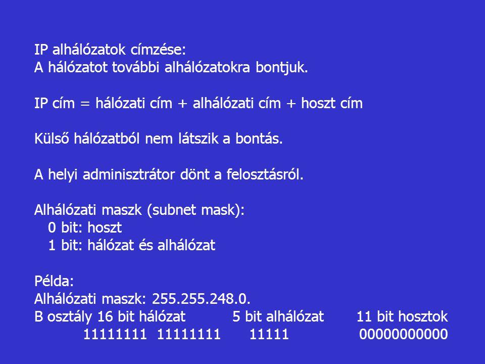 IP alhálózatok címzése: A hálózatot további alhálózatokra bontjuk. IP cím = hálózati cím + alhálózati cím + hoszt cím Külső hálózatból nem látszik a b