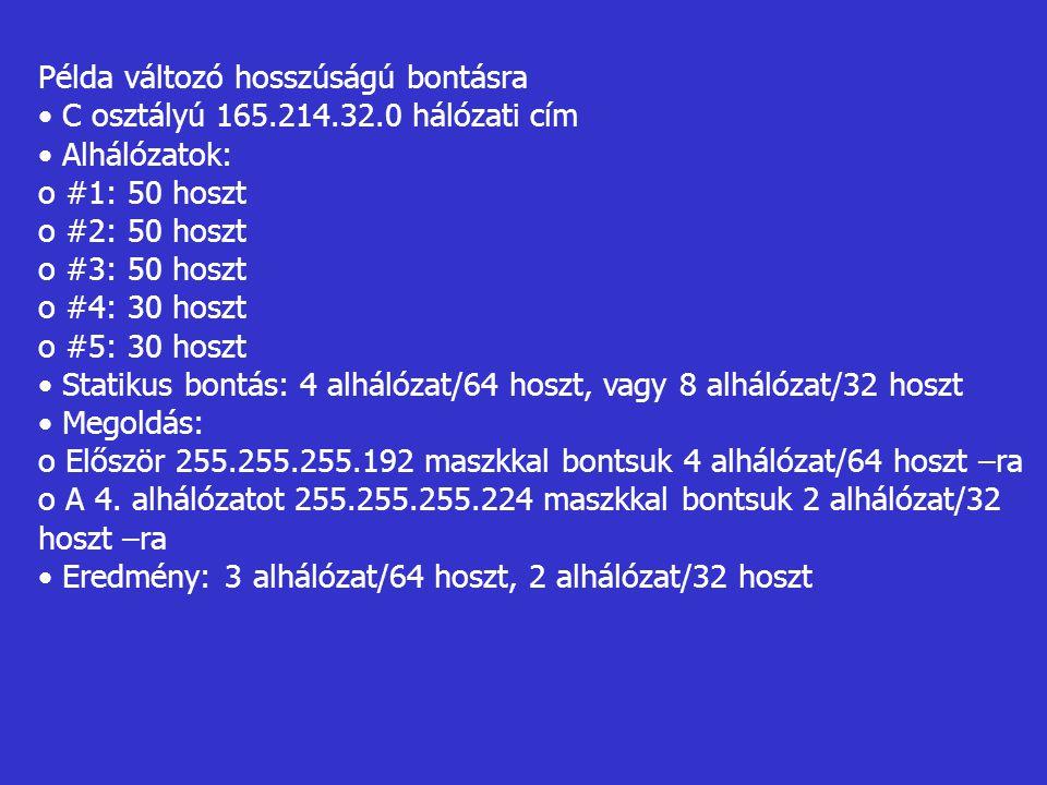Példa változó hosszúságú bontásra C osztályú 165.214.32.0 hálózati cím Alhálózatok: o #1: 50 hoszt o #2: 50 hoszt o #3: 50 hoszt o #4: 30 hoszt o #5: