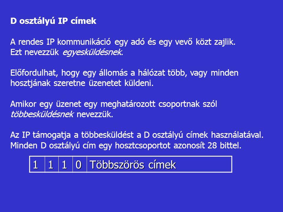 D osztályú IP címek A rendes IP kommunikáció egy adó és egy vevő közt zajlik. Ezt nevezzük egyesküldésnek. Előfordulhat, hogy egy állomás a hálózat tö