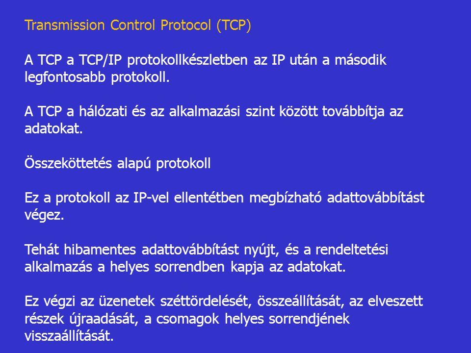 Transmission Control Protocol (TCP) A TCP a TCP/IP protokollkészletben az IP után a második legfontosabb protokoll. A TCP a hálózati és az alkalmazási