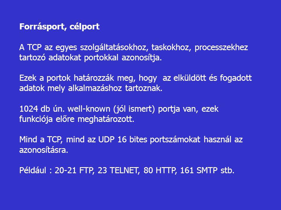 Forrásport, célport A TCP az egyes szolgáltatásokhoz, taskokhoz, processzekhez tartozó adatokat portokkal azonosítja. Ezek a portok határozzák meg, ho
