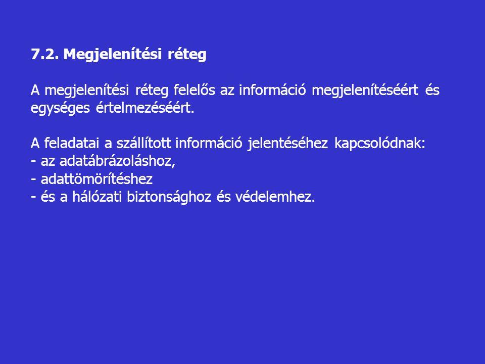 7.2. Megjelenítési réteg A megjelenítési réteg felelős az információ megjelenítéséért és egységes értelmezéséért. A feladatai a szállított információ