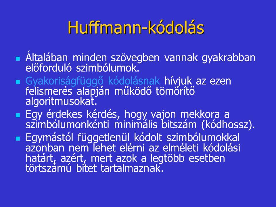 Huffmann-kódolás Általában minden szövegben vannak gyakrabban előforduló szimbólumok. Gyakoriságfüggő kódolásnak hívjuk az ezen felismerés alapján műk
