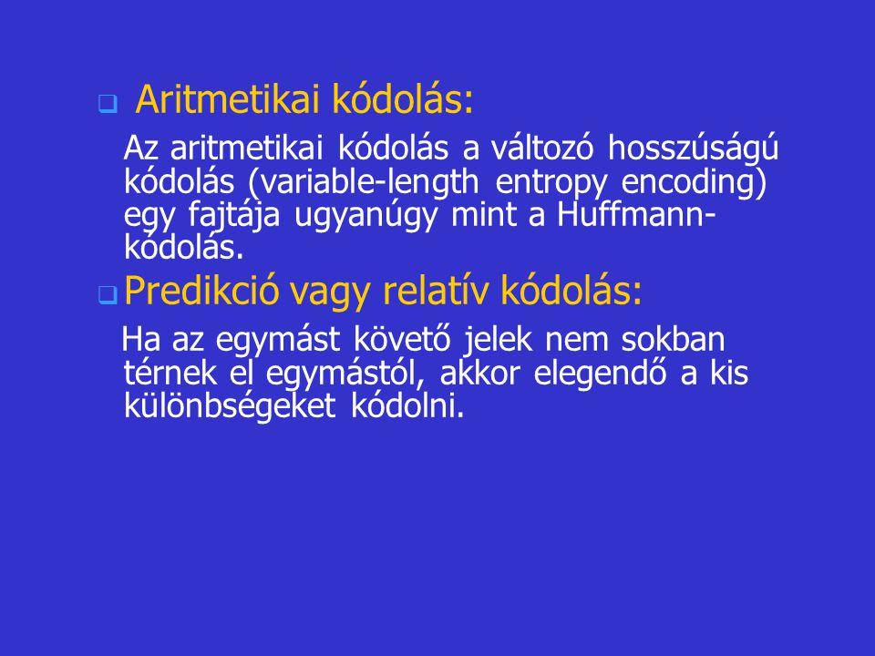   Aritmetikai kódolás: Az aritmetikai kódolás a változó hosszúságú kódolás (variable-length entropy encoding) egy fajtája ugyanúgy mint a Huffmann-