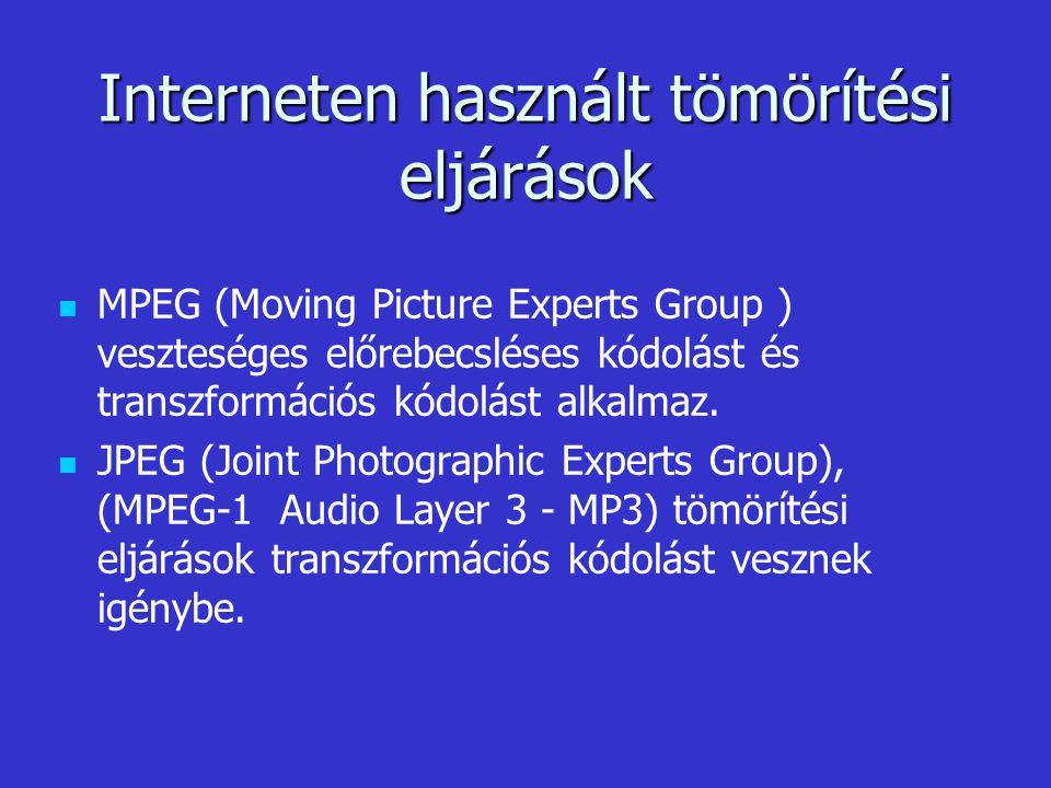 MPEG (Moving Picture Experts Group ) veszteséges előrebecsléses kódolást és transzformációs kódolást alkalmaz. JPEG (Joint Photographic Experts Group)