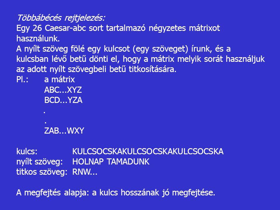 Többábécés rejtjelezés: Egy 26 Caesar-abc sort tartalmazó négyzetes mátrixot használunk. A nyílt szöveg fölé egy kulcsot (egy szöveget) írunk, és a ku