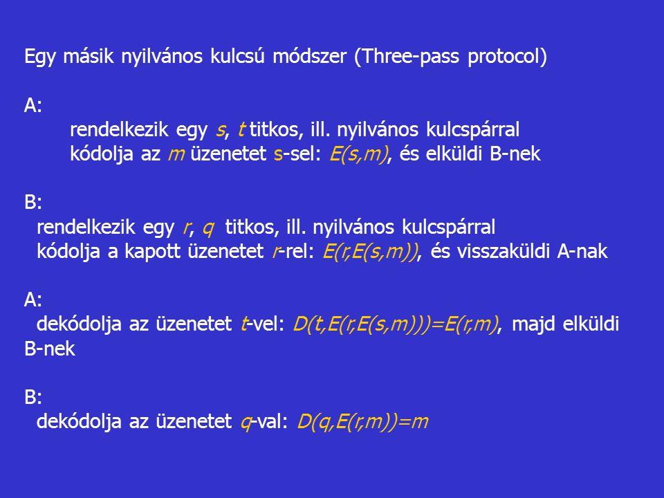 Egy másik nyilvános kulcsú módszer (Three-pass protocol) A: rendelkezik egy s, t titkos, ill. nyilvános kulcspárral kódolja az m üzenetet s-sel: E(s,m