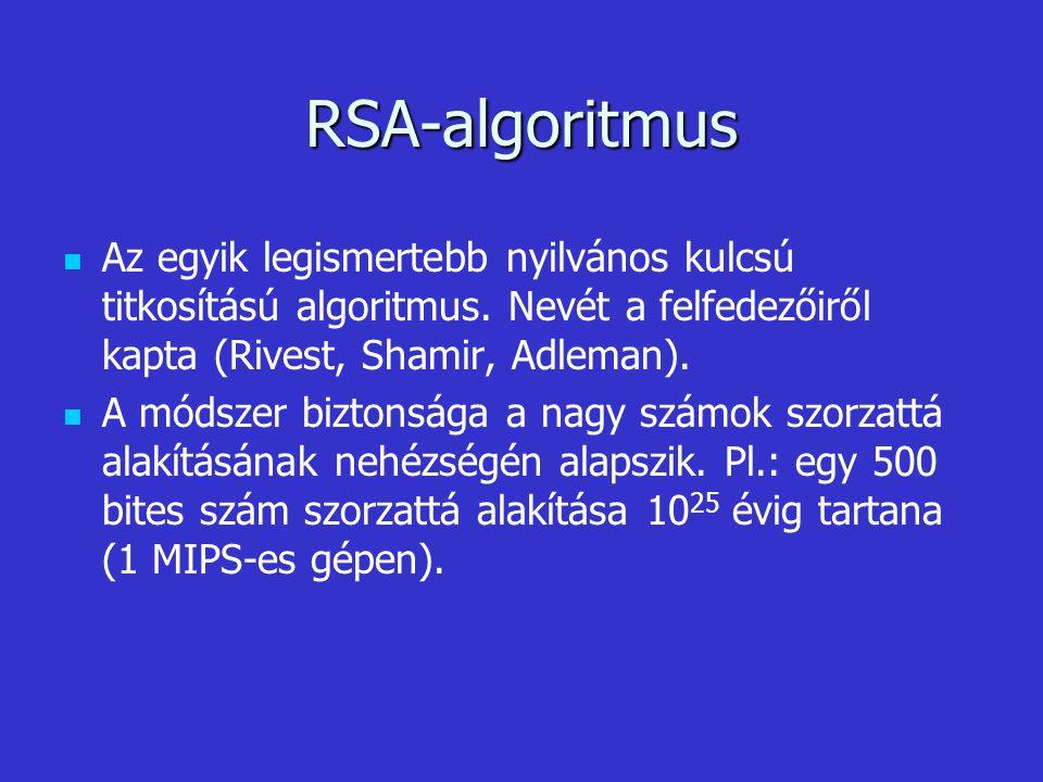 RSA-algoritmus Az egyik legismertebb nyilvános kulcsú titkosítású algoritmus. Nevét a felfedezőiről kapta (Rivest, Shamir, Adleman). A módszer biztons