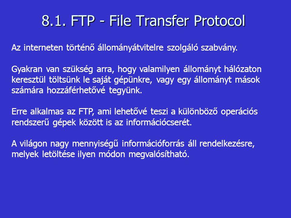 8.1. FTP - File Transfer Protocol Az interneten történő állományátvitelre szolgáló szabvány. Gyakran van szükség arra, hogy valamilyen állományt hálóz