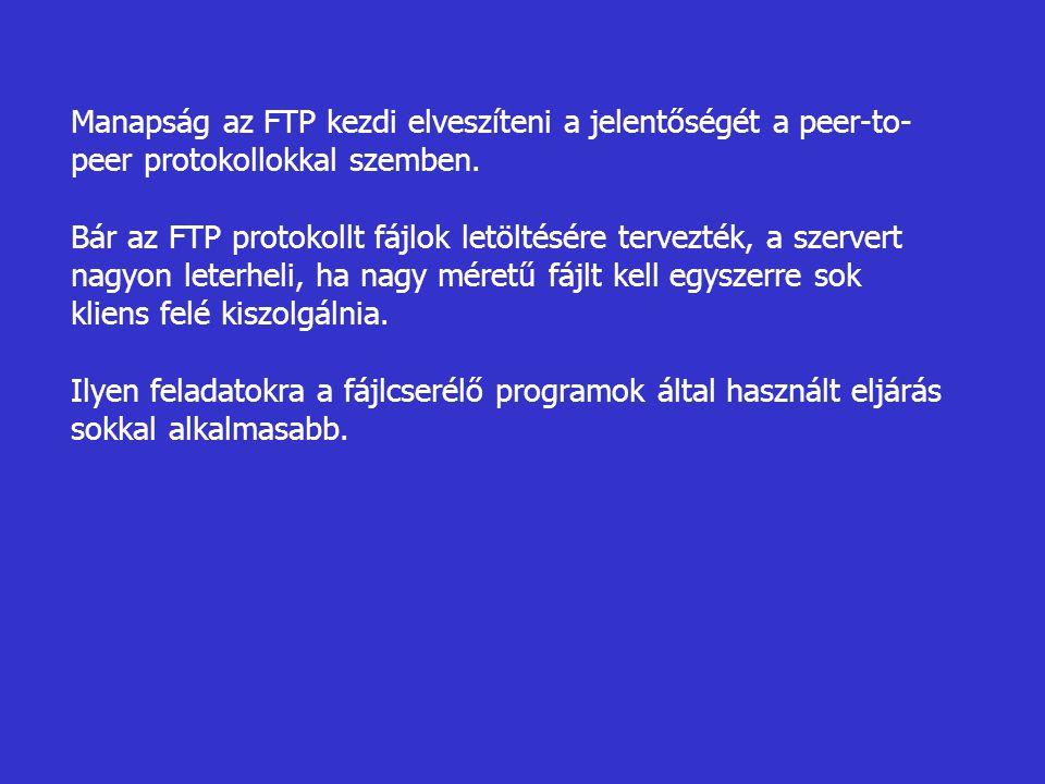 Manapság az FTP kezdi elveszíteni a jelentőségét a peer-to- peer protokollokkal szemben. Bár az FTP protokollt fájlok letöltésére tervezték, a szerver