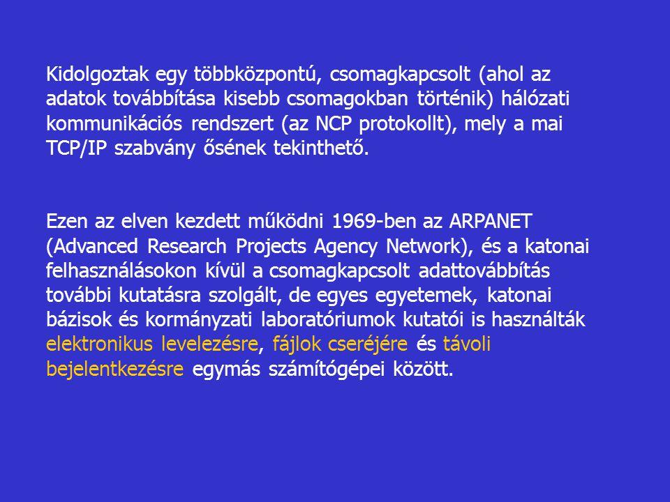 Kidolgoztak egy többközpontú, csomagkapcsolt (ahol az adatok továbbítása kisebb csomagokban történik) hálózati kommunikációs rendszert (az NCP protoko