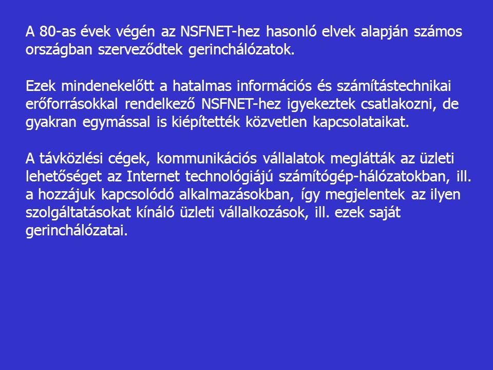 A 80-as évek végén az NSFNET-hez hasonló elvek alapján számos országban szerveződtek gerinchálózatok. Ezek mindenekelőtt a hatalmas információs és szá