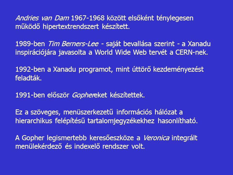Andries van Dam 1967-1968 között elsőként ténylegesen működő hipertextrendszert készített. 1989-ben Tim Berners-Lee - saját bevallása szerint - a Xana