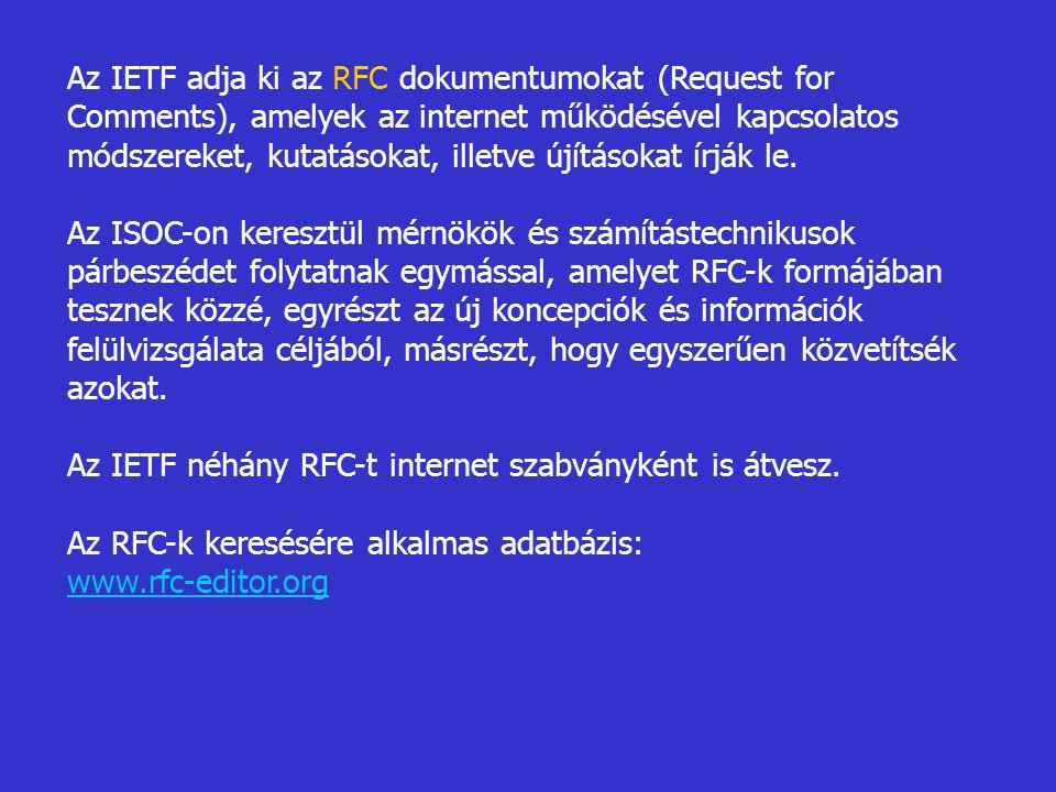 Az IETF adja ki az RFC dokumentumokat (Request for Comments), amelyek az internet működésével kapcsolatos módszereket, kutatásokat, illetve újításokat
