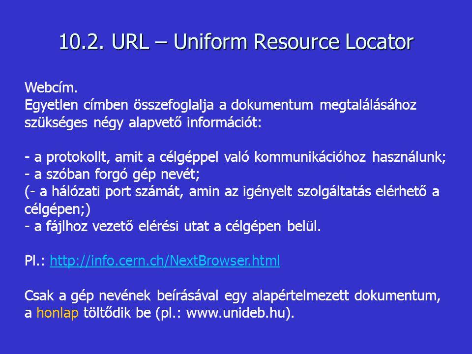 Webcím. Egyetlen címben összefoglalja a dokumentum megtalálásához szükséges négy alapvető információt: - a protokollt, amit a célgéppel való kommuniká