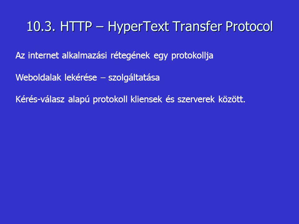Az internet alkalmazási rétegének egy protokollja Weboldalak lekérése – szolgáltatása Kérés-válasz alapú protokoll kliensek és szerverek között. 10.3.