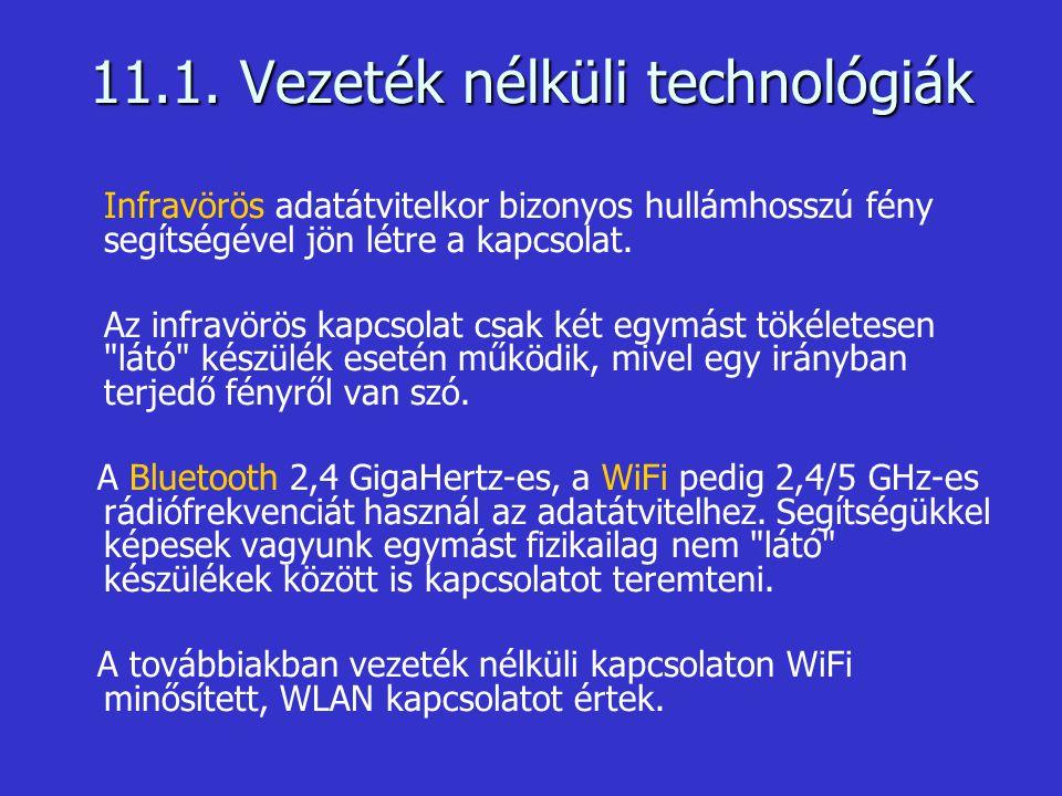 11.1. Vezeték nélküli technológiák Infravörös adatátvitelkor bizonyos hullámhosszú fény segítségével jön létre a kapcsolat. Az infravörös kapcsolat cs