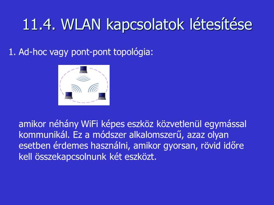 11.4. WLAN kapcsolatok létesítése 1.Ad-hoc vagy pont-pont topológia: amikor néhány WiFi képes eszköz közvetlenül egymással kommunikál. Ez a módszer al