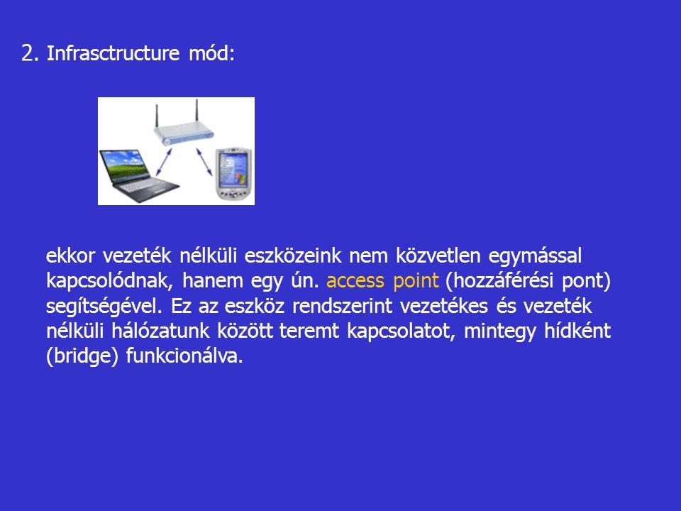2. Infrasctructure mód: ekkor vezeték nélküli eszközeink nem közvetlen egymással kapcsolódnak, hanem egy ún. access point (hozzáférési pont) segítségé
