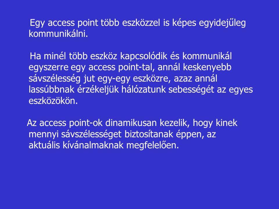 Egy access point több eszközzel is képes egyidejűleg kommunikálni. Ha minél több eszköz kapcsolódik és kommunikál egyszerre egy access point-tal, anná
