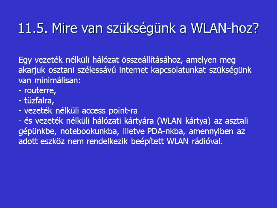 11.5. Mire van szükségünk a WLAN-hoz? Egy vezeték nélküli hálózat összeállításához, amelyen meg akarjuk osztani szélessávú internet kapcsolatunkat szü