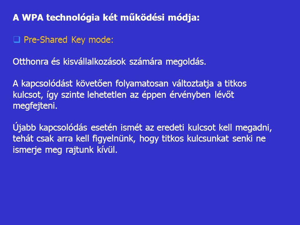A WPA technológia két működési módja:  Pre-Shared Key mode: Otthonra és kisvállalkozások számára megoldás. A kapcsolódást követően folyamatosan válto