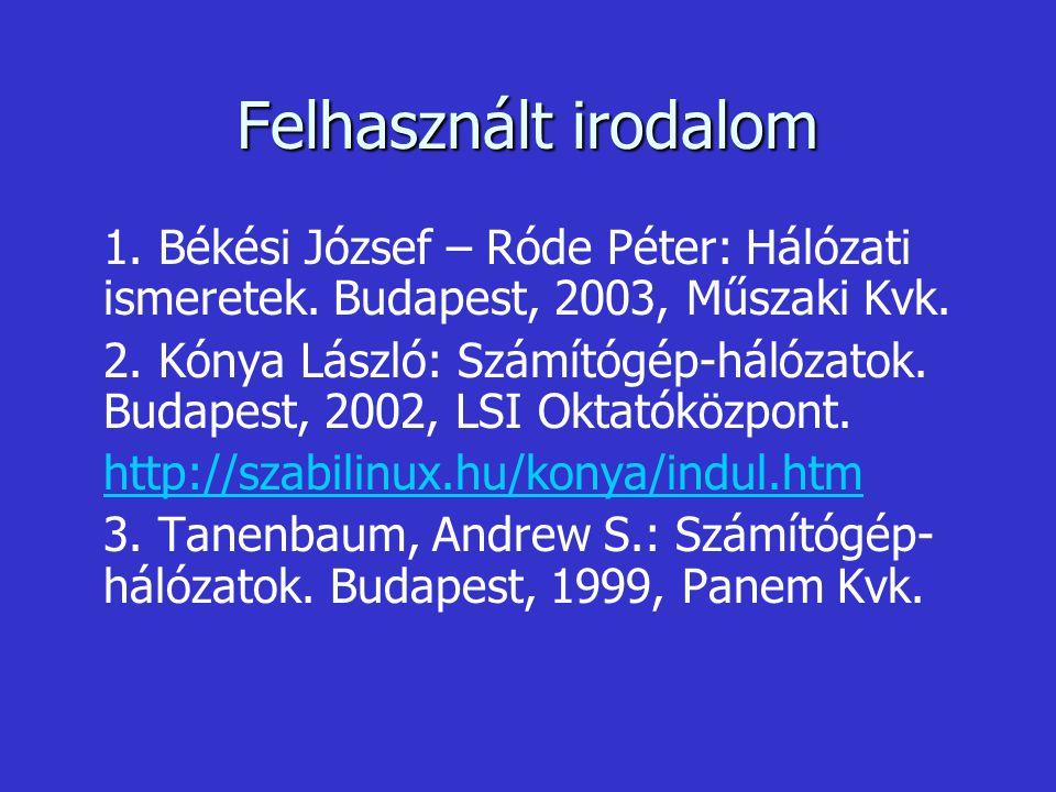 Felhasznált irodalom 1. Békési József – Róde Péter: Hálózati ismeretek. Budapest, 2003, Műszaki Kvk. 2. Kónya László: Számítógép-hálózatok. Budapest,