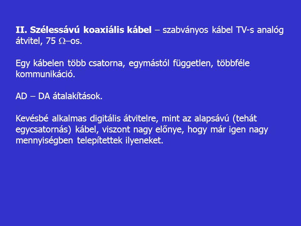 II. Szélessávú koaxiális kábel – szabványos kábel TV-s analóg átvitel, 75  –os. Egy kábelen több csatorna, egymástól független, többféle kommunikáció