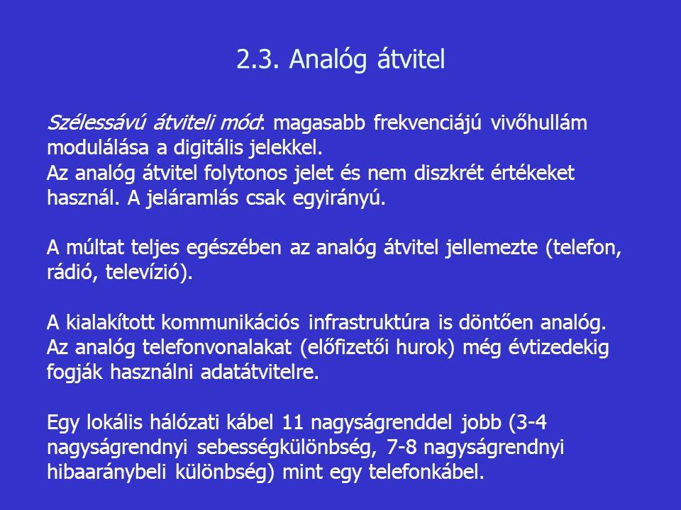 2.3. Analóg átvitel Szélessávú átviteli mód: magasabb frekvenciájú vivőhullám modulálása a digitális jelekkel. Az analóg átvitel folytonos jelet és ne