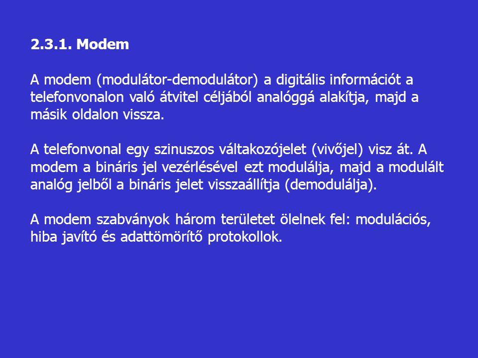 2.3.1. Modem A modem (modulátor-demodulátor) a digitális információt a telefonvonalon való átvitel céljából analóggá alakítja, majd a másik oldalon vi