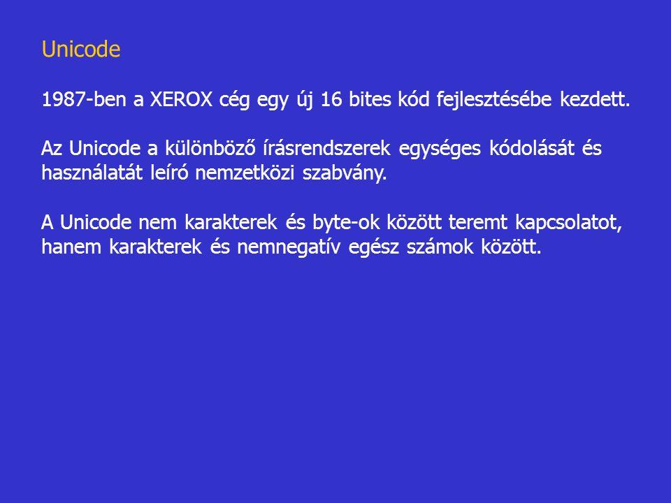 Unicode 1987-ben a XEROX cég egy új 16 bites kód fejlesztésébe kezdett. Az Unicode a különböző írásrendszerek egységes kódolását és használatát leíró