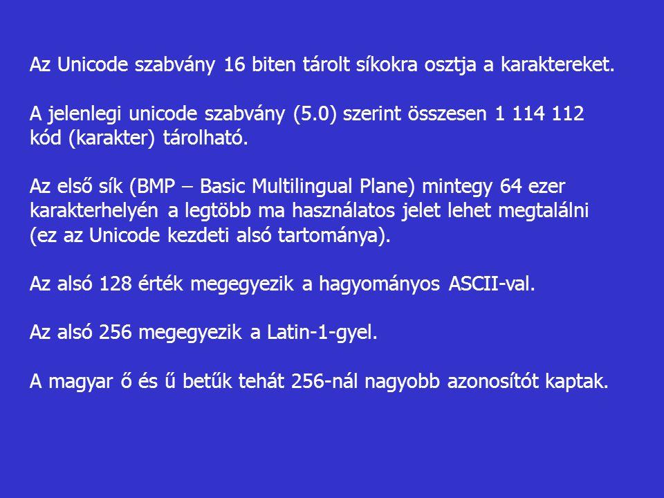 Az Unicode szabvány 16 biten tárolt síkokra osztja a karaktereket. A jelenlegi unicode szabvány (5.0) szerint összesen 1 114 112 kód (karakter) tárolh
