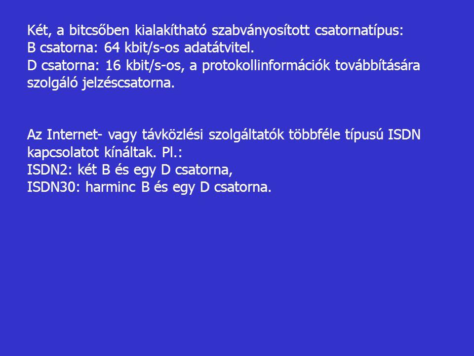 Két, a bitcsőben kialakítható szabványosított csatornatípus: B csatorna: 64 kbit/s-os adatátvitel. D csatorna: 16 kbit/s-os, a protokollinformációk to