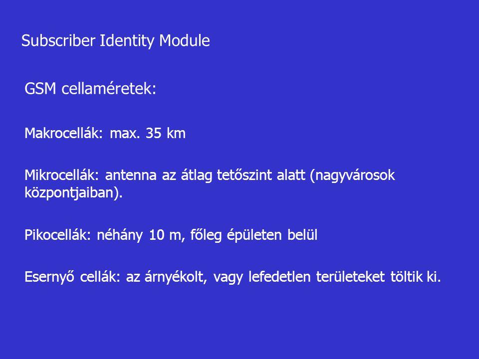 Subscriber Identity Module GSM cellaméretek: Makrocellák: max. 35 km Mikrocellák: antenna az átlag tetőszint alatt (nagyvárosok központjaiban). Pikoce