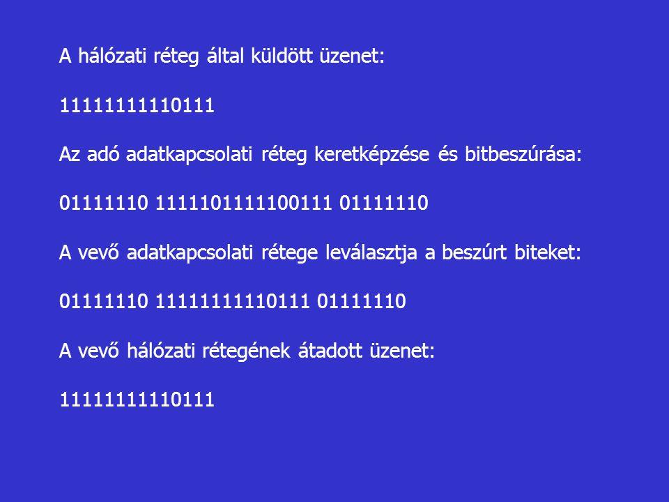 A hálózati réteg által küldött üzenet: 11111111110111 Az adó adatkapcsolati réteg keretképzése és bitbeszúrása: 01111110 1111101111100111 01111110 A v