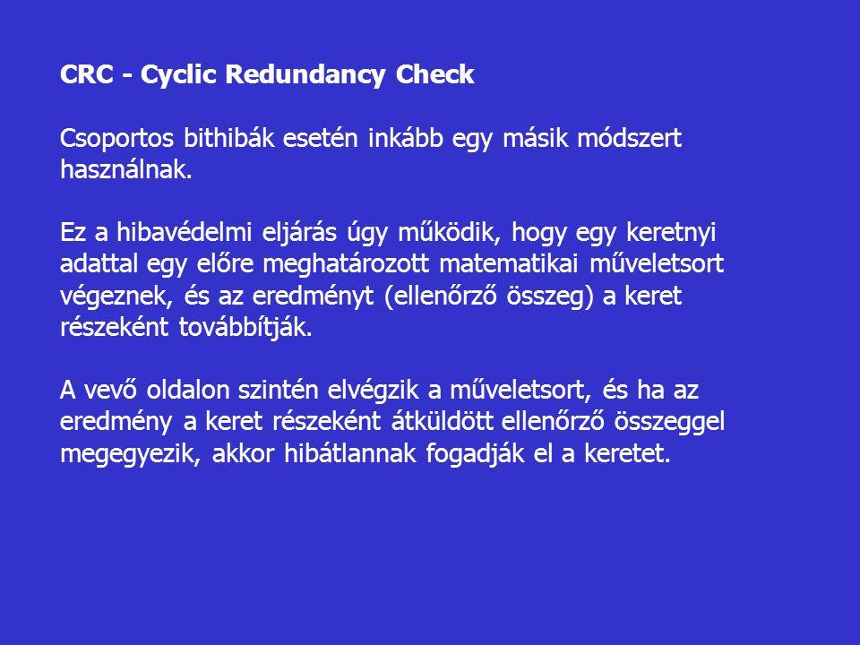 CRC - Cyclic Redundancy Check Csoportos bithibák esetén inkább egy másik módszert használnak. Ez a hibavédelmi eljárás úgy működik, hogy egy keretnyi