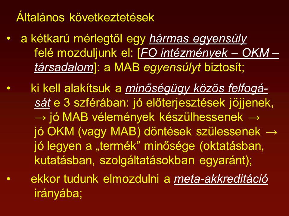 """Általános következtetések a kétkarú mérlegtől egy hármas egyensúly felé mozduljunk el: [FO intézmények – OKM – társadalom]: a MAB egyensúlyt biztosít; ki kell alakítsuk a minőségügy közös felfogá- sát e 3 szférában: jó előterjesztések jöjjenek, → jó MAB vélemények készülhessenek → jó OKM (vagy MAB) döntések szülessenek → jó legyen a """"termék minősége (oktatásban, kutatásban, szolgáltatásokban egyaránt); ekkor tudunk elmozdulni a meta-akkreditáció irányába;"""