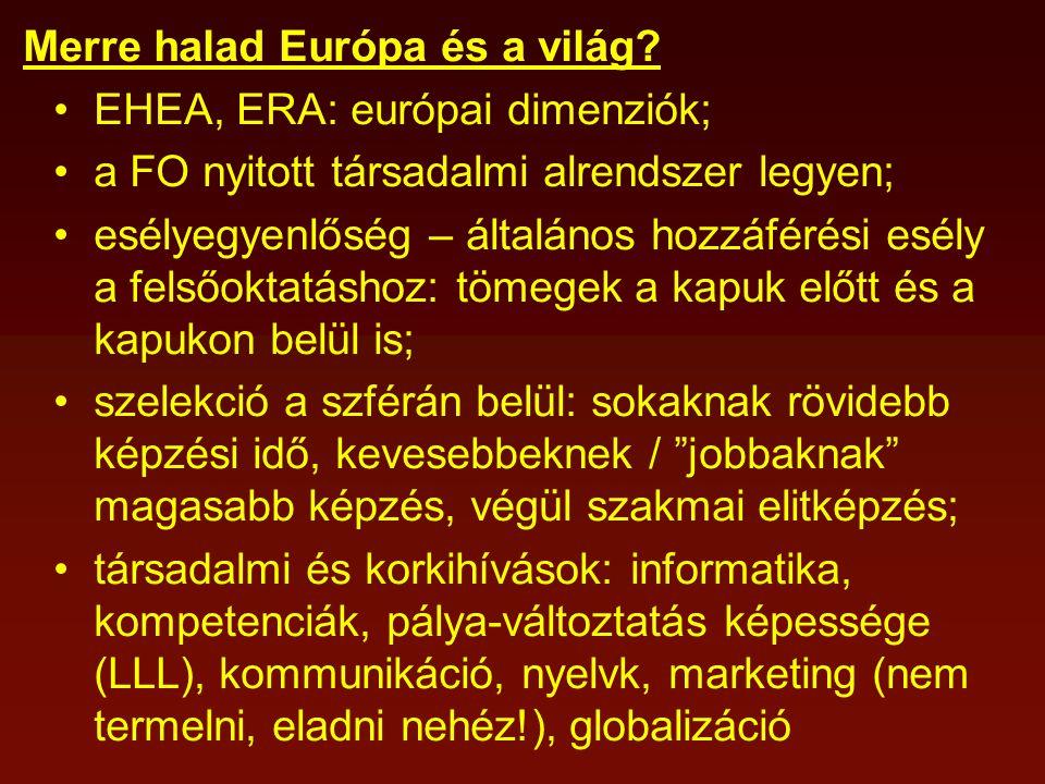 Merre halad Európa és a világ? EHEA, ERA: európai dimenziók; a FO nyitott társadalmi alrendszer legyen; esélyegyenlőség – általános hozzáférési esély
