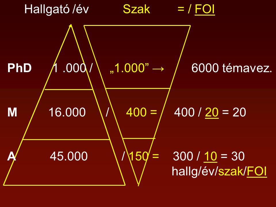 """Hallgató /év Szak = / FOI PhD 1.000 / """"1.000"""" → 6000 témavez. M 16.000 / 400 = 400 / 20 = 20 A 45.000 / 150 = 300 / 10 = 30 hallg/év/szak/FOI"""
