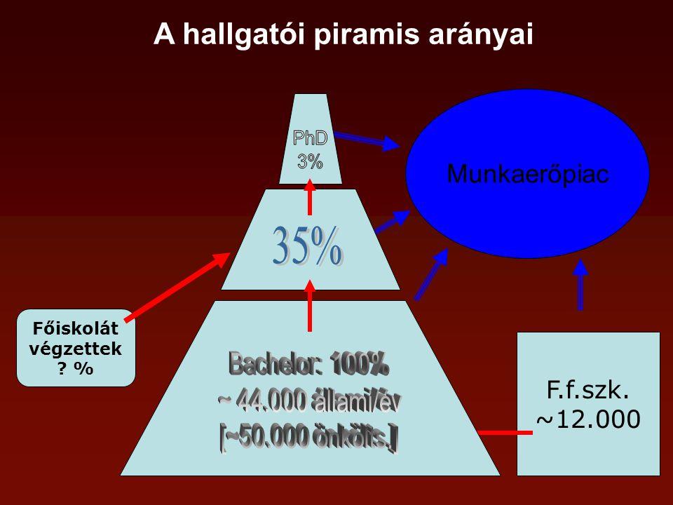 A hallgatói piramis arányai F.f.szk. ~12.000 Főiskolát végzettek % Munkaerőpiac