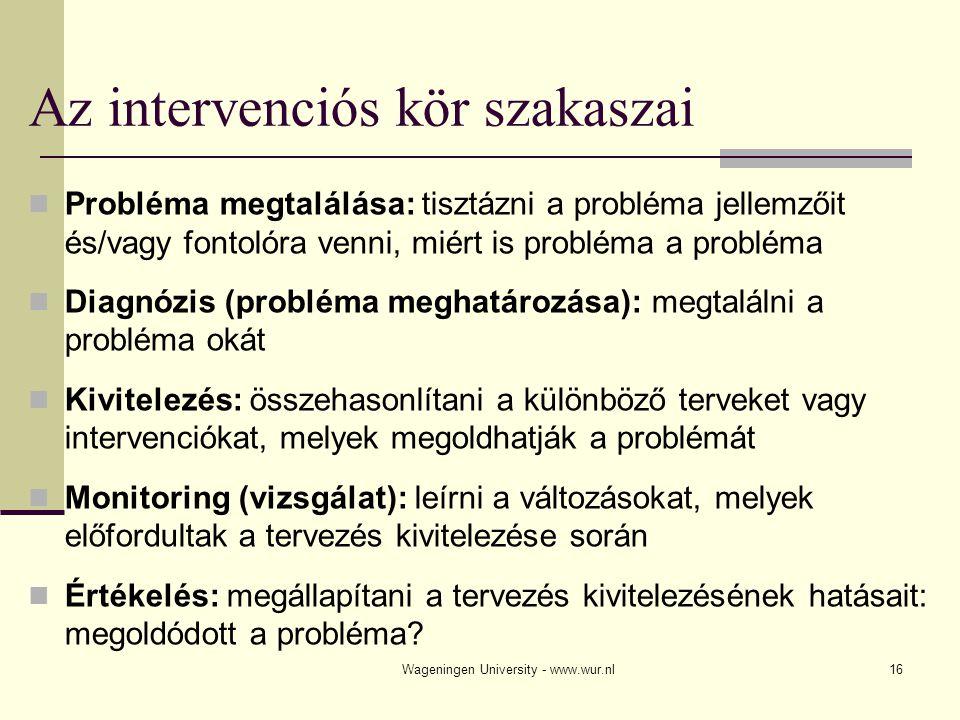 Wageningen University - www.wur.nl16 Az intervenciós kör szakaszai Probléma megtalálása: tisztázni a probléma jellemzőit és/vagy fontolóra venni, miér