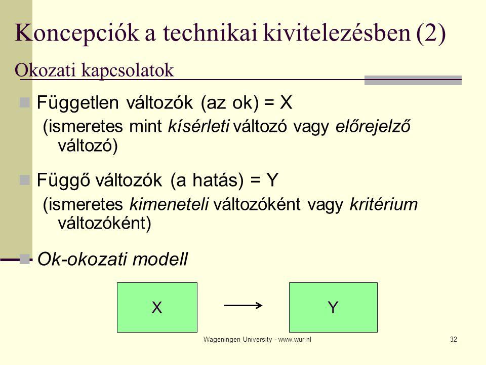 Wageningen University - www.wur.nl32 Koncepciók a technikai kivitelezésben (2) Okozati kapcsolatok Független változók (az ok) = X (ismeretes mint kísérleti változó vagy előrejelző változó) Függő változók (a hatás) = Y (ismeretes kimeneteli változóként vagy kritérium változóként) Ok-okozati modell X Y