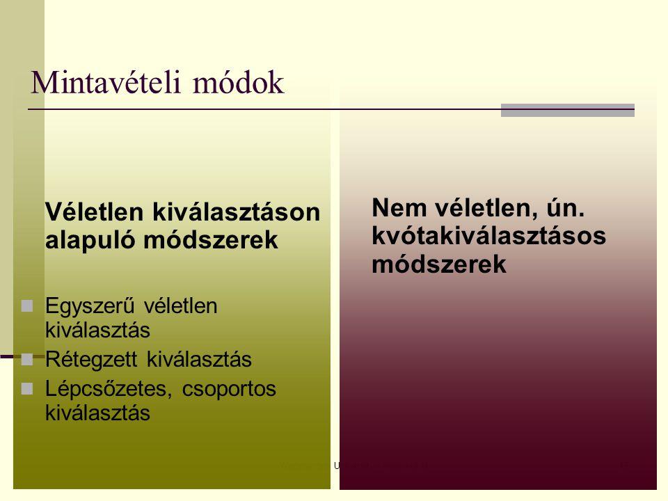 Wageningen University - www.wur.nl43 Mintavételi módok Véletlen kiválasztáson alapuló módszerek Egyszerű véletlen kiválasztás Rétegzett kiválasztás Lé